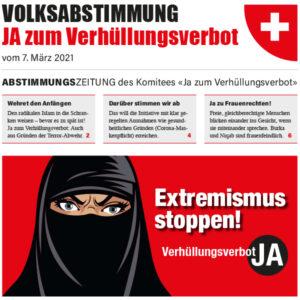Abstimmungszeitungen «Ja zum Verhüllungsverbot»: Jetzt Versand sponsern