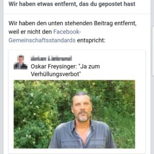 Skandalöse Facebook-Zensur gegen Verhüllungsverbots-Initianten